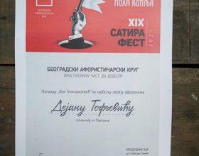 Dejanu Tofčeviću nagrada Satira Festa za aforizam